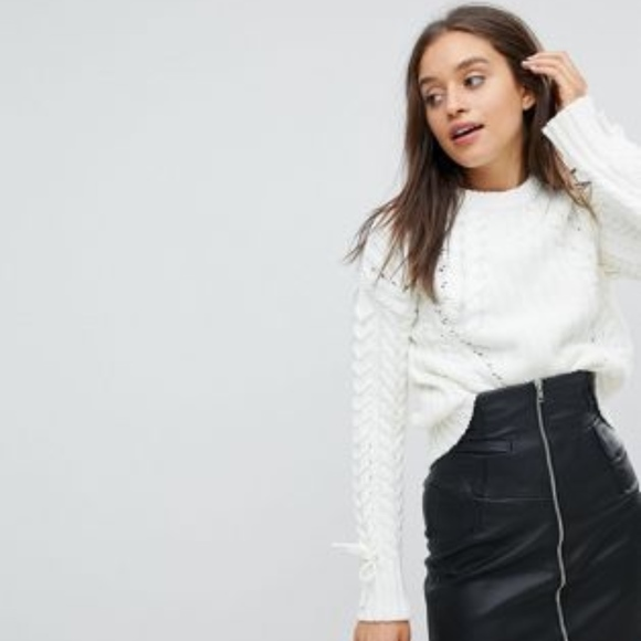 a3f42b02fcdd2d Bershka Sweaters | Asos Cable Rib Patterned Knitted Sweater | Poshmark